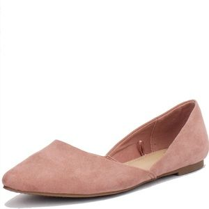 Time & Tru Pink Pointed Toe Suede Flats
